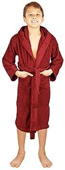 SKYLINEWEARS Terry Cloth 100% Cotton Kid's Boys & Girls Hooded Bathrobe Wine 14
