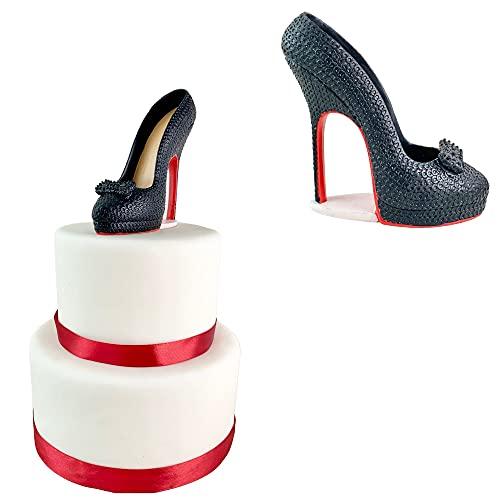 Chaussure femme noir et rouge, cake topper escarpins...