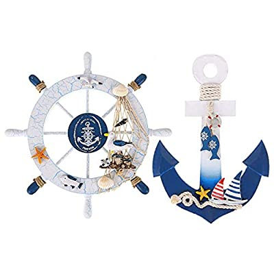 """Meching 2 Pack 11"""" Nautical Decor Beach Wooden Ship Wheel and Wood Anchor with Rope Nautical Boat Steering Rudder Wall Decor Door Hanging Ornament Beach Theme Home Decoration?Blue?"""