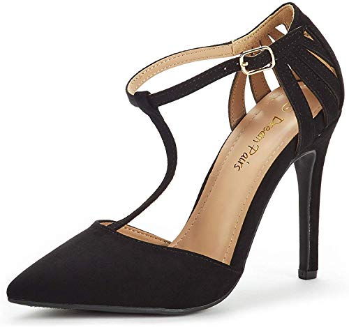 DREAM PAIRS Women's Oppointed-Mary Black Nubuck Fashion Dress High Heel Pointed Toe Wedding Pumps Shoes Size 8 M US