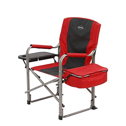 Kamp-Rite Outdoor Camp Folding Director's Chair with Side Table & Cooler, Red