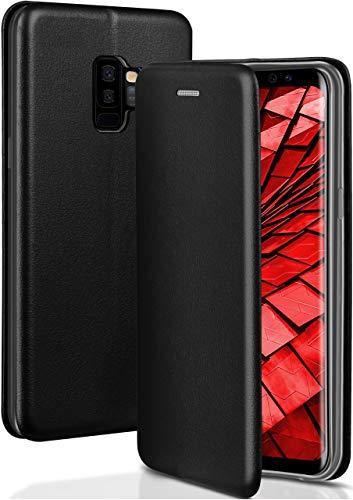 ONEFLOW Handyhülle kompatibel mit Samsung Galaxy S9 Plus - Hülle klappbar, Handytasche mit Kartenfach, Flip Hülle Call Funktion, Klapphülle in Leder Optik, Schwarz