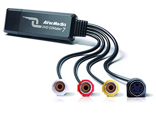 AVerMedia EZMaker 7, cartão de captura de vídeo USB de definição padrão, gravador analógico para digital, composto RCA, VHS para DVD, S-Video, Cyberlink Media Suite incluído, Win 10/Mac (C039), preto