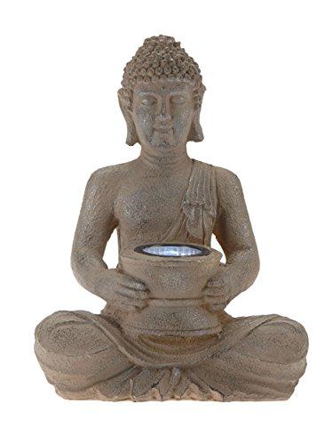 Buddhastatue mit Solar LED Leuchte