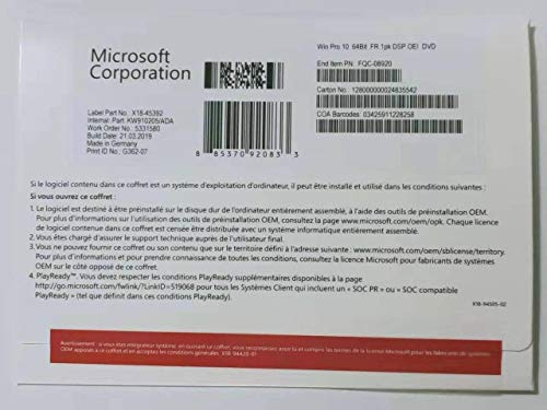 Windows 10 Professionnel OEM | DVD | 64 bit | Français | Windows 10 Professional OEM