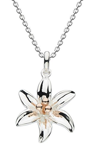 Dew Sterling Silver and Rose Gold Plate Tiger Lily Necklace 18' 9083RG