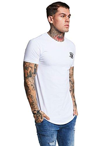 Sik Silk Hombre Hem curva Logo Gimnasio de la camiseta, Blanco