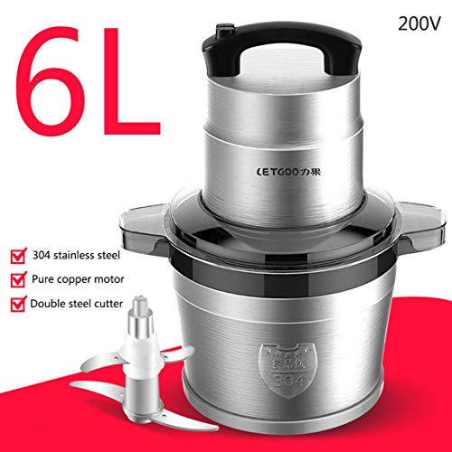 6LMeat Blender, grote capaciteit Electric roestvrij staal Mincer Knoflook Machine Plantaardige snijmachine Spiralizer Vegetable Slicer