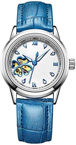 Reloj mecánico, correa de piel con movimiento mecánico automático, antiarañazos, vidrio templado orgánico, hueco, impermeable, para mujer, puede ser luminoso, regalo C...