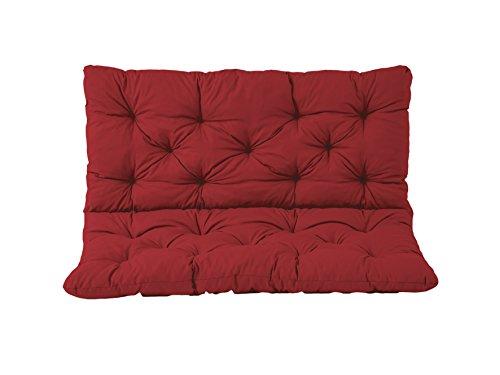 Cojines para asientos Meerweh y cojines para respaldo Banco Hanko, rojo, aproximadamente 100 x 98 x 8 cm, tablero, cojines