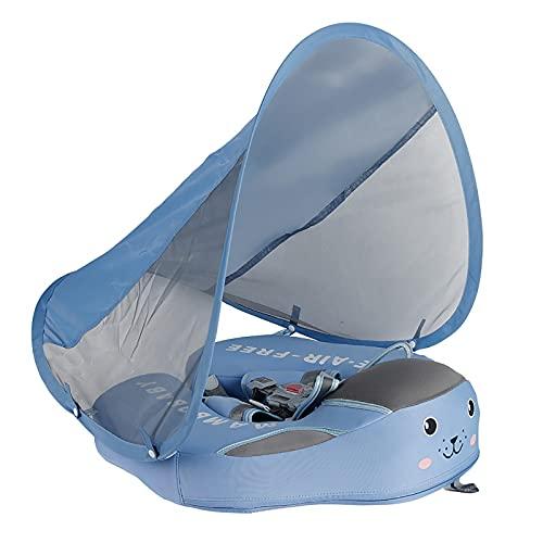 Flu Flotador Bebe 3 Meses-3 año con Toldo y Cinturón de Seguridad,Flotador de Natación para Bebé,Anillo de Natación Inflable Flotante para Bebé,Lindos Juguetes de Piscina de Verano para Bebés.