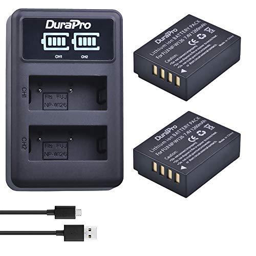 DuraPro 2X NP-W126 NP-W126 Akku + LED-USB-Doppelladegerät für Fuji NP-W126 NP-W126S X100F X-A1 X-E2 X-E2S X-Pro1 X-Pro2 X-T1 X-T2 X-T3 X-T10 X -T20 X-T100 X-H1 FinePix HS33EXR HS50EXR Kameras