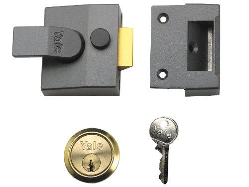 Yale P85 Sicherheitsschloss mit Riegel, Zylinder mit Messing-Finish, 40mm, Dunkelgrau metallic