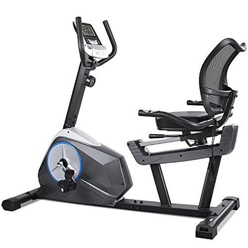 Recumbent Exercise Bike Stationary Cycling Bike 8 Level Resistance Seat Adjustable Large Digital Monitor & Ipad Holder…