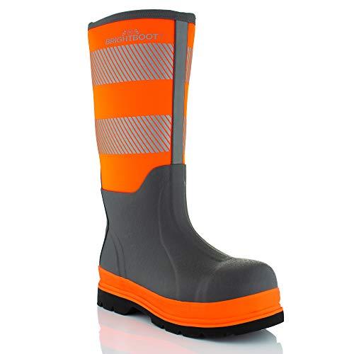Brightboot Sicherheitsstiefel, hohe Sichtbarkeit, wasserdicht, Größe 42, Orange