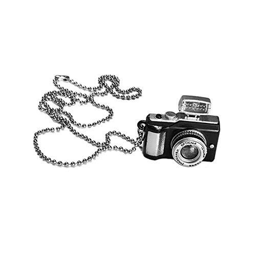WWJJTT Hip-Hop-Retro-Halskette für Männer und Frauen, leuchtender Blitz kann wie SLR-Kamera-Anhänger, Trendige Anhänger-Halskette klingen-Rosa