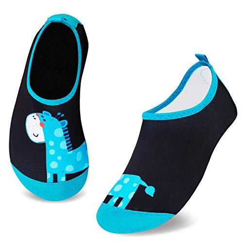 HMIYA Kinder Badeschuhe rutschfeste Aquaschuhe Wasserschuhe Schnell Trocknend Schwimmschuhe Strandschuhe für Jungen Mädchen Baby Beach Pool Surfen(Giraffe Grün,32/33 EU)