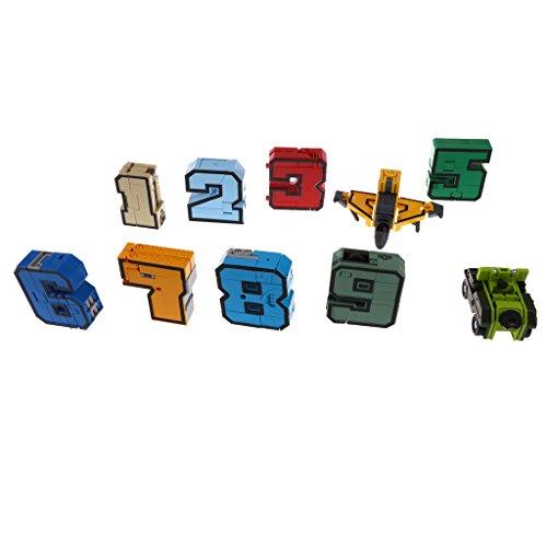 Fenteer 10 Pcs Numero 0-9 Trasforma Robot Militare Esercito Serbatoio Display Set Giocattolo Educativi Regalo Fantastico Plastica ABS