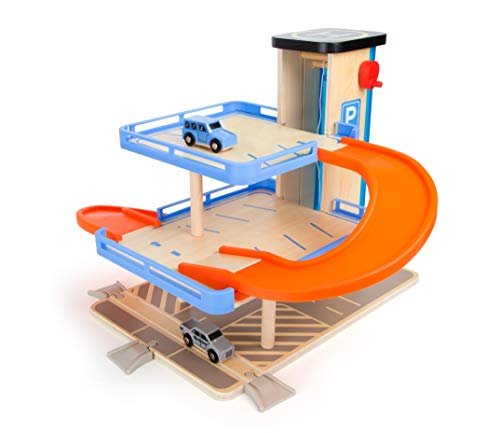 Small Foot Wooden Toys Multi-Level Parking Garage Complete Playset Designed for Children 3+