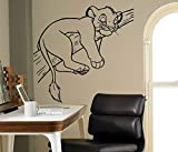 yaonuli Adesivo murale Leone Addormentato Simpatico Cartone Animato Leone Animale Decalcomania della Parete casa Camera da Letto Carino Adesivo Decorativo Pittura murale Decalcomania 30x109cm