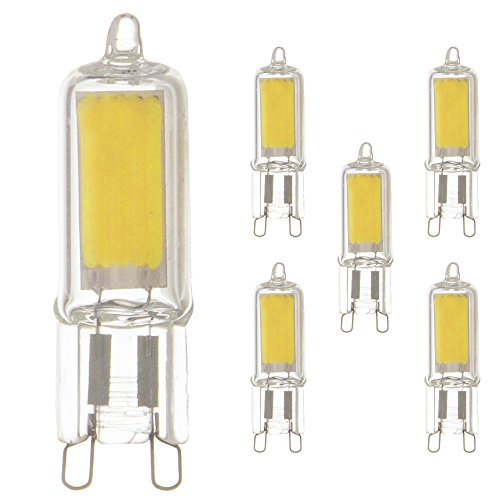5 x LED COB Stiftsockel Leuchtmittel 2W = 20W G9 klar Glas warmweiß 2700K Retrofit (5 Stück)