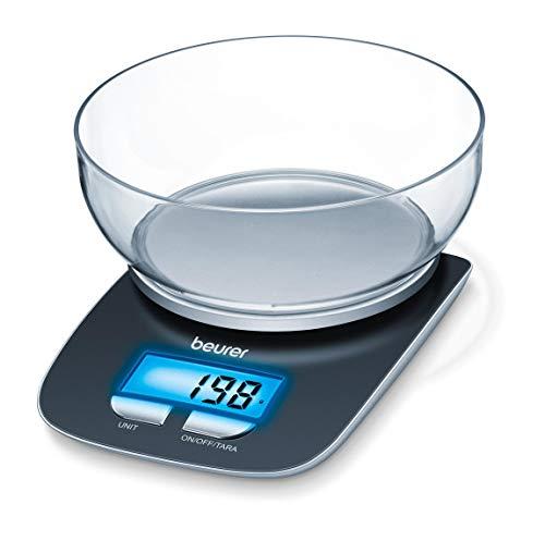 Beurer KS 25 Balanza de cocina con bol transparente, función auto-tara, 3 kg/1 gr, pantalla LCD azul (6.6 x 2.8 cm), altura pantalla 2.2 cm, color negro plata