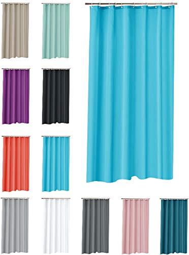 one-home Duschvorhang 180x200 cm wasserdicht Uni Badewannen Vorhang inklusive 12 Ringe, Farbe:türkis