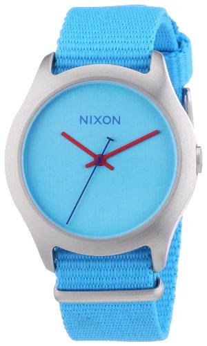 Nixon 0 - Reloj de Cuarzo para Mujer, con Correa de Tela, Color Azul