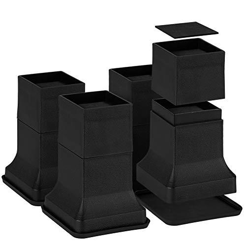 Uping Elevador de Muebles Alza de Mueble Elevadores para Camas Mesas o Mobiliario Aumente Altura en 5cm 10cm o 15cm (Negro)