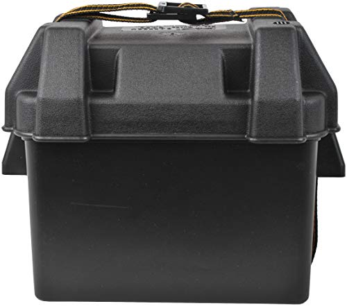attwood 9082-1 U1 Small Series 16 Vented Marine Boat Battery Box with Mounting Kit and Strap, Black, Black, One Size