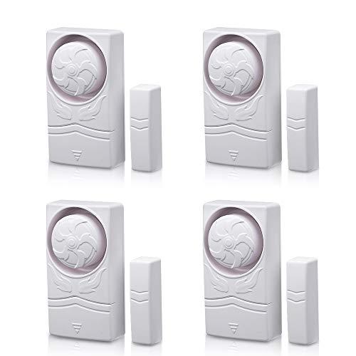 Wsdcam Magnetisch ausgelöste Alarme für Türen oder Fenster Home Security Fenster Tür Alarm Kit (10er-Pack), lauter 110 dB Alarm 4-er Packung