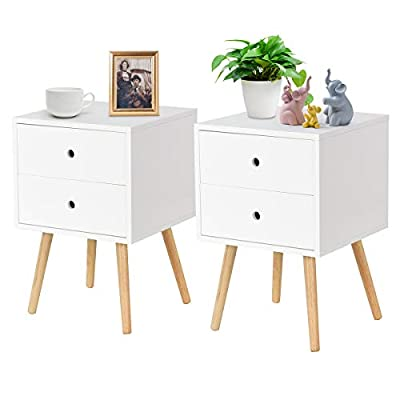 Giantex Side End Table W/2 Drawers Mid-Century Accent for Bedroom Living Storage Home Furniture Nightstand