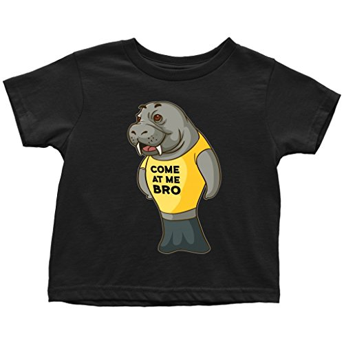 Manatee Come at Me Bro Commercial Novelty Toddler T Shirt for Boys Girls Kids (Black, 3T)