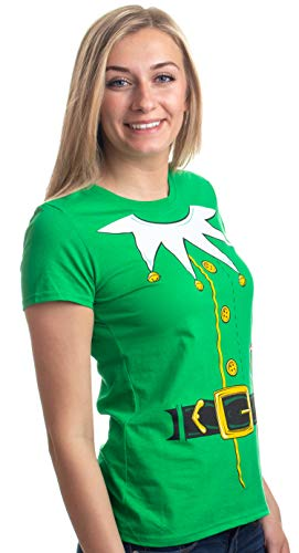 Santa's Elf Costume | Jumbo Print Novelty Christmas Holiday Humor Ladies' T-Shirt-Ladies,S Green