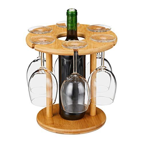 Relaxdays Soporte para Copas de Vino, bambú, para 6 Copas, Redondo, diámetro de 25 cm, Regalo de Vino, Bar, con Soporte para Botellas de Vino, Natural, 1 Unidad