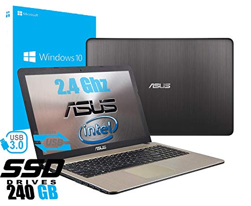 "Notebook Asus Vivobook Portatile Pc Display da 15.6"" Cpu Intel Dual Core Fino a 2.60Ghz /Ram 4Gb /SSD 240GB /Graphics Intel HD600 /Hdmi Dvd Wifi Bluetooth /Windows 10 professional /Open Office"