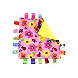 G-Tree Pink Flower Tag Comforter Security Blankets with Colorful Tags Infants Toddlers Soft Plush Tag Blanket Newborn Baby Girl