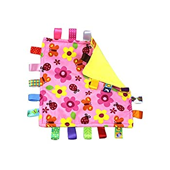 G-Tree Pink Flower Tag Comforter Security Blankets with Colorful Tags Infants Toddlers Soft Plush Taggie Blanket Newborn Baby Girl
