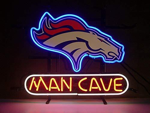 "Queen Sense 14""x10"" Denver Bronco Man Cave Neon Sign Light Beer Bar Pub Real Glass Lamp DE43"