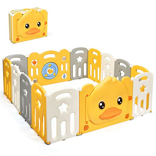HONEY JOY Baby Playpen, 14 Panel Psyduck Baby Play Fence for House, Anti-Slip Rubber Base & Suction, Foldable Activity Area w/Game Board & Lockable Gate, Freestanding Play Yard for Toddler