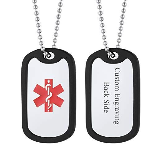 U7 Colgante Collar Personalizado Dog Tag Militar Cruz Roja Socorro Collar de Hombre Personalizadas Placas Estilo Ejército para Grabar Nombres Textos Acero Inoxidable Plateado