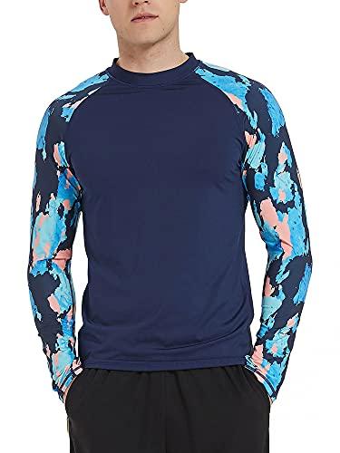 Camiseta de manga larga para hombre, protección contra erupciones UPF 50+ para natación, secado rápido, surf, piscina, camiseta deportiva, traje de buceo con protección UV