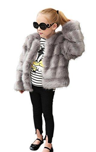VLUNT Abrigo de Piel Chaqueta para Niños Pelo Chica Ropa Invierno Niña Tops Mangas Largas Abrigo de Pelo Chica Tops Piel Winter Fur Coat (Negro)
