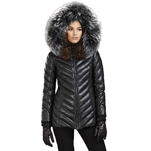 LENNOX - Chaqueta de piel de cordero auténtica de larga duración con cierre de cremallera incluida capucha de piel gris | Ropa de invierno