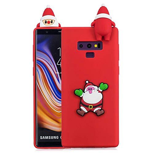 Funda Galaxy Note 9 Silicona Papá Noel Funda Samsung Galaxy Note 9 Silicona Navidad Funda 3D Animales de Silicona Suave para Samsung Galaxy Note 9 Funda Verde de goma para niñas