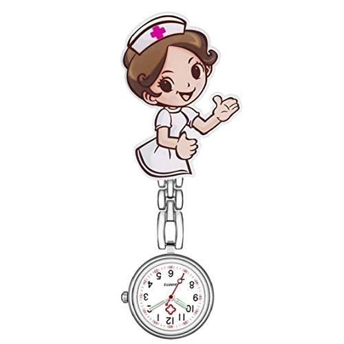 MICHAELA BLAKE Reloj de Cuarzo Enfermera de Mujeres de los Relojes de Pulsera con Broche de la Venda de Acero Inoxidable y Clip