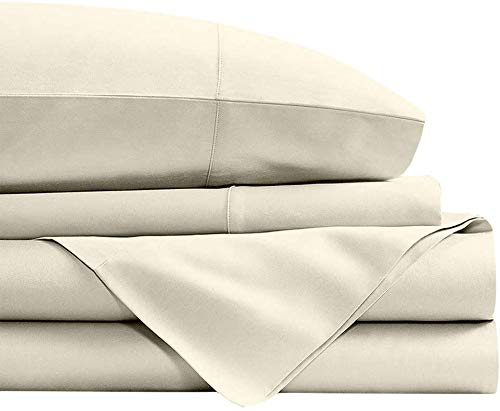 3 PC Set (1 Fitted Sheet and 2 Pillow Cover) 100% Long Staple Egyptian Cotton, 450 Thread Count, 38 CM Deep Pocket of Fitted Sheet, Bedding Set, Soft Sateen Bed Set -Ivory Solid Emperor Size