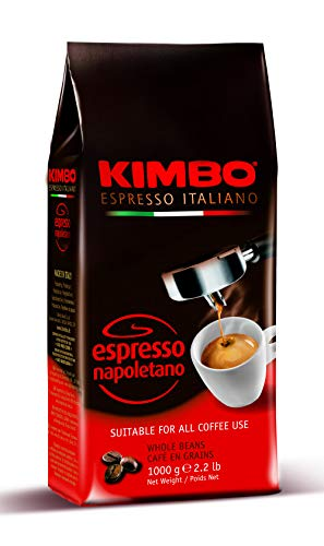 Kimbo ganze Kaffeebohnen - Espresso Napoletano - Röstung dunkel (1kg Beutel)