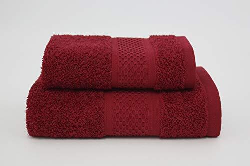 Asciugamano da bagno, Set di due asciugamani da bagno Viso e Ospite 100% cotone, morbide al tatto. Spugna di alta qualità proveniente da Portogallo peso 340gr/mq . (Bordeaux)