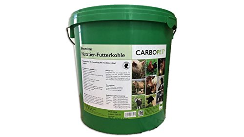 CARBOPET 3,5 kg Futterkohle für Pferde, Rinder, Schweine und Geflügel, nach GMP+ FSA gesichert, 100% pflanzliche Kohle, staubfrei